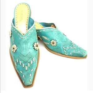 BCBGirls turquoise teal cowgirl leather mules boot